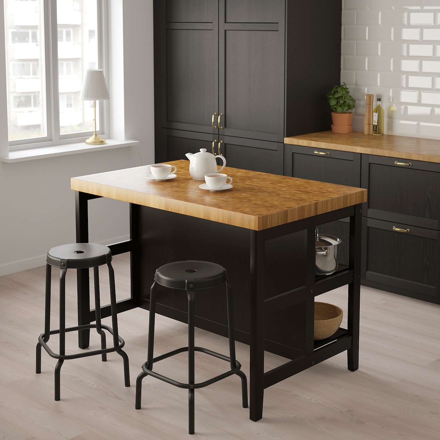 VADHOLMA Kitchen island, black/oak, 49 5/8x31 1/8x35 3/8 ""