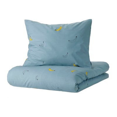 VÄNKRETS Duvet cover and pillowcase, banana pattern blue, Twin