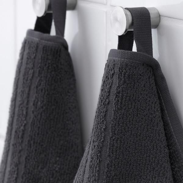 """VÅGSJÖN Bath towel, dark gray, 28x55 """""""