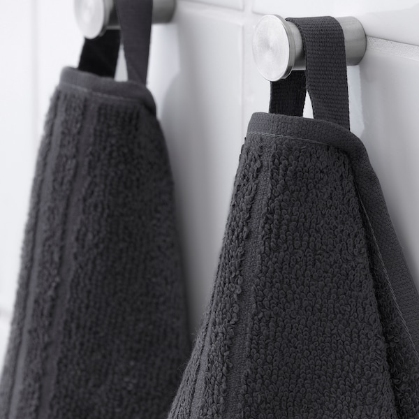 VÅGSJÖN Hand towel, dark gray, 16x28 ""