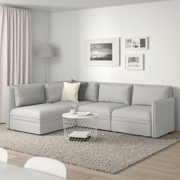 VALLENTUNA Modular corner sofa, 3-seat, with storage/Orrsta light gray