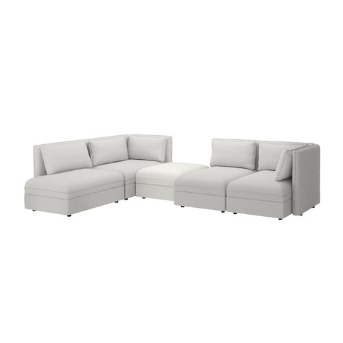 "VALLENTUNA modular corner sofa, 4-seat with storage/Orrsta/Murum light gray/white 33 1/8 "" 36 5/8 "" 44 1/2 "" 136 1/4 "" 83 7/8 "" 31 1/2 "" 39 3/8 "" 17 3/4 """