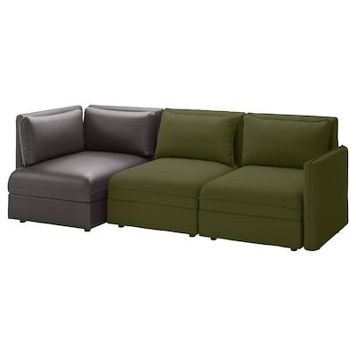 VALLENTUNA Sectional, 3-seat, with storage/Orrsta/Murum olive-green/black