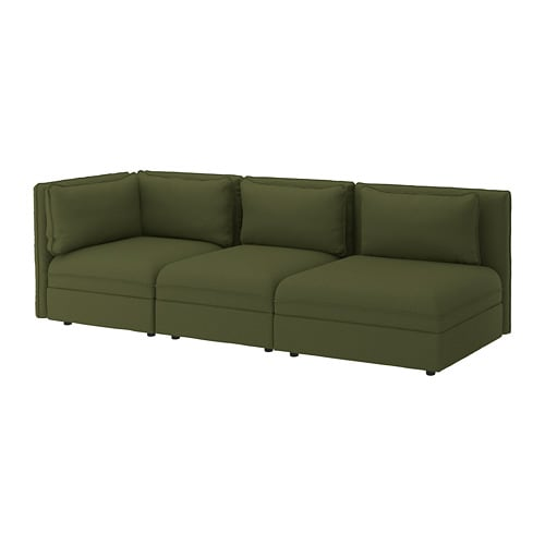 Sectional Sofa Olive Green: VALLENTUNA Sectional, 3-seat