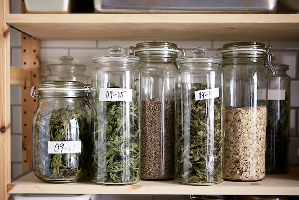 VARDAGEN Jar with lid, clear glass, 61 oz