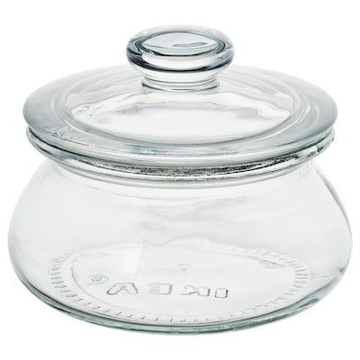 "VARDAGEN jar with lid clear glass 3 ¼ "" 4 ½ "" 10 oz"
