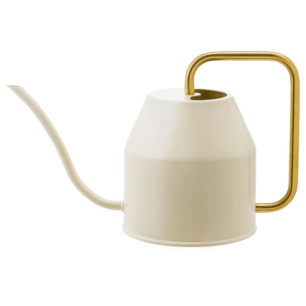 """VATTENKRASSE watering can ivory/gold-colour 6 ¼ """" 30 oz"""