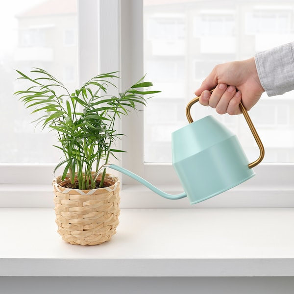 VATTENKRASSE Watering can, light turquoise/gold-colour, 30 oz