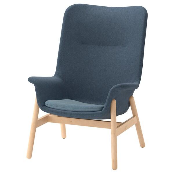 """VEDBO armchair high Gunnared blue 31 1/2 """" 33 1/2 """" 42 1/2 """" 17 3/4 """" 18 7/8 """" 17 3/8 """""""
