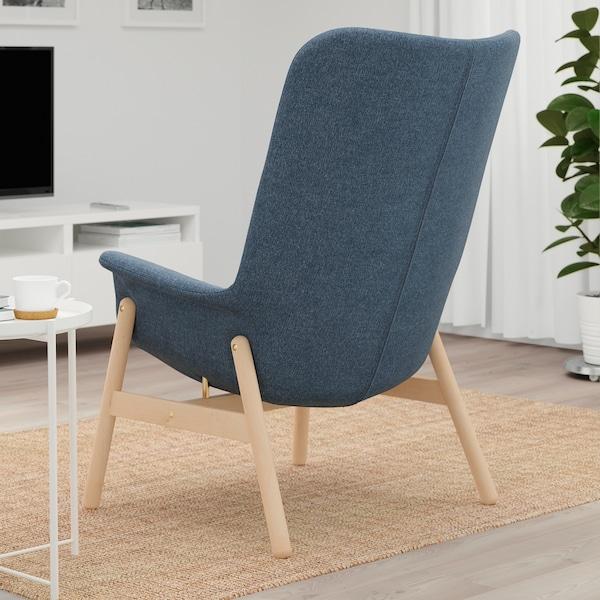 VEDBO Armchair high, Gunnared blue