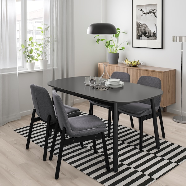 Vedbo Dining Table Black 63x373 8 160x95 Cm Ikea