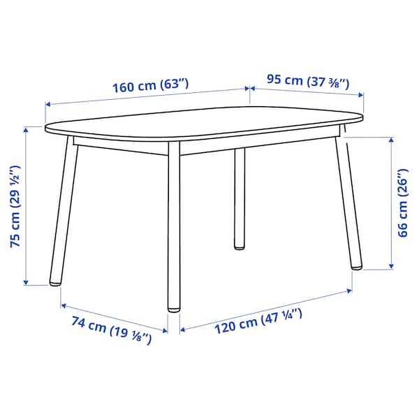 VEDBO Dining table, black, 63x37 3/8 ""