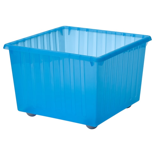 """VESSLA Storage crate with casters, blue, 15 ¼x15 ¼ """""""