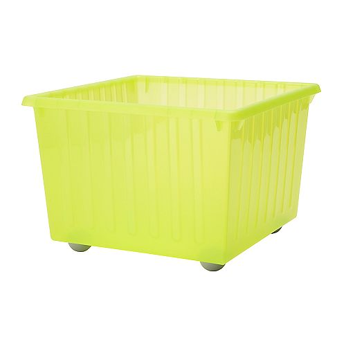 VESSLA Storage crate with casters   Casters included.  The top edge serves as a handle, which makes the storage crate easy to lift and carry.