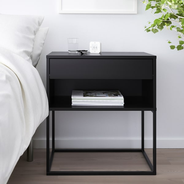 "VIKHAMMER nightstand black 2 3/4 "" 23 5/8 "" 15 3/8 "" 25 5/8 "" 20 1/2 "" 13 """