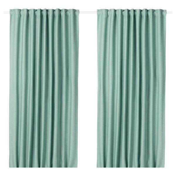 "VILBORG Room darkening curtains, 1 pair, green, 57x98 """