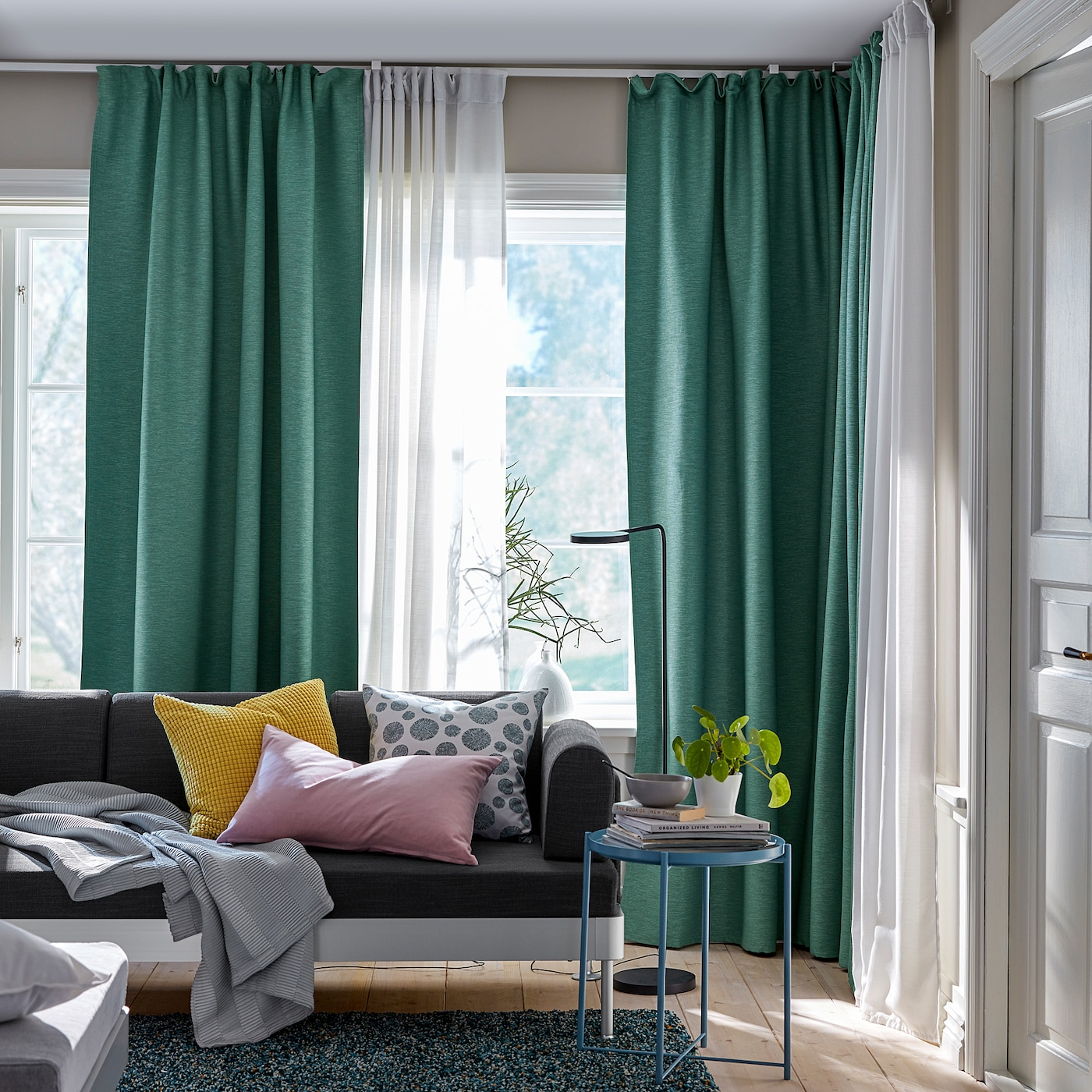 "VILBORG Room darkening curtains, 12 pair - green 12x12 "" (1245x12 cm)"