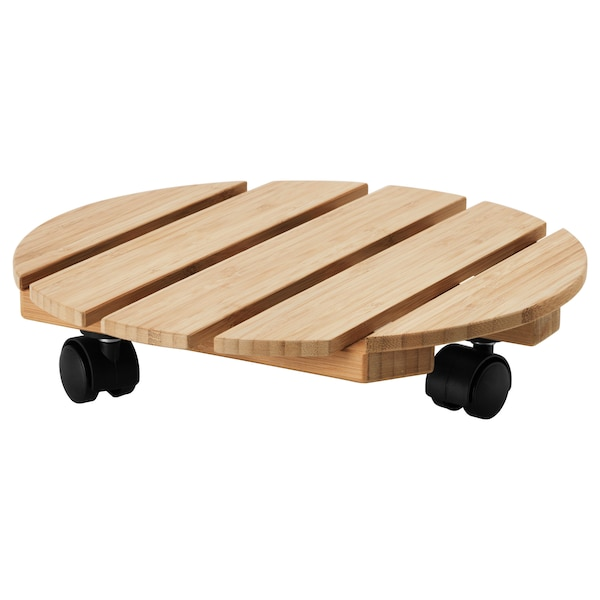 """VILDAPEL Plant stand on wheels, bamboo, 11 ¾ """""""