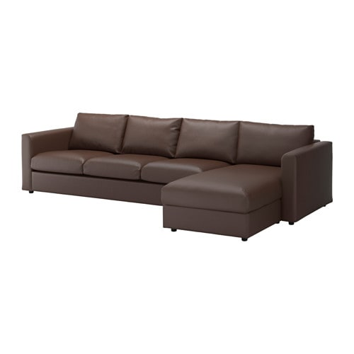 Vimle sectional 4 seat with chaise farsta dark brown ikea for 4 seat sectional sofa chaise