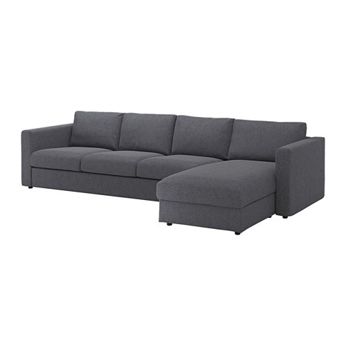 Vimle sectional 4 seat with chaise gunnared medium gray for U sofa med chaiselong