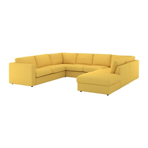 VIMLE Sectional 6 seat with open end Orrsta golden yellow IKEA