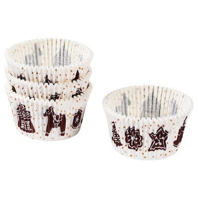 VINTER 2020 Baking cup, paper, gingerbread pattern white/brown