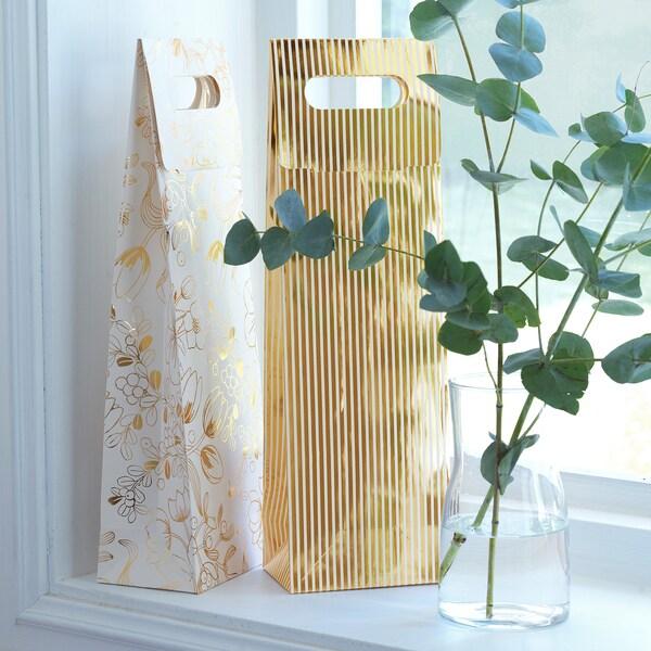 """VINTER 2020 Gift bag for bottle, stripe pattern/floral pattern white/gold color, 5x16 ¼ """""""