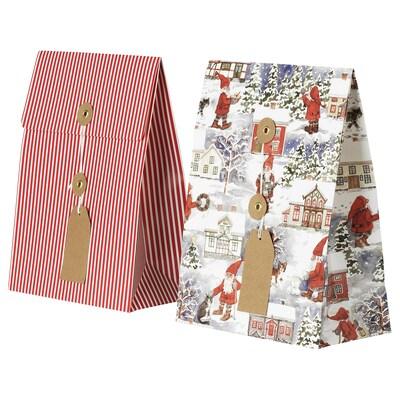 "VINTER 2020 Gift bag, Santa Claus pattern/stripe pattern red, 7 ¾x10 ¼ ""/3 qt"