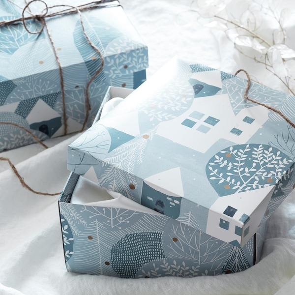 "VINTER 2020 Gift box, winter village pattern blue-gray, 7 ¾x7 ¾x4 """