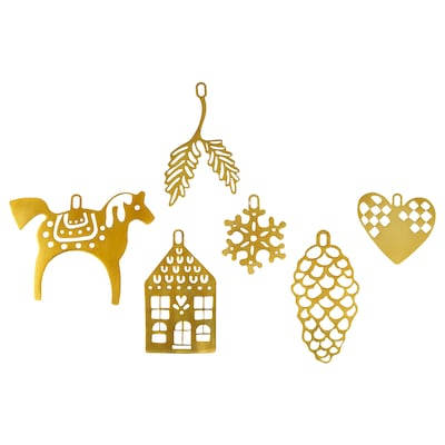 VINTER 2020 Hanging ornaments, set of 6, gold-colour