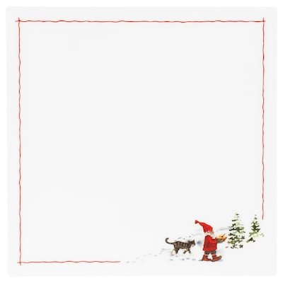 VINTER 2020 Place mat, Santa Claus pattern white/red, 14 ½x14 ½ ""