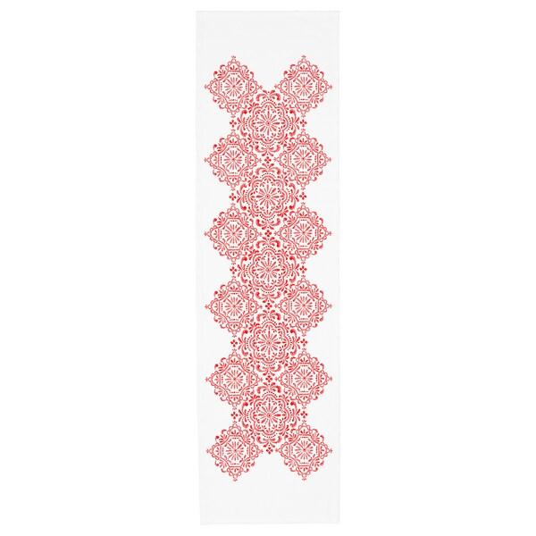 """VINTER 2020 Table runner, medallion pattern white/red, 14x51 """""""