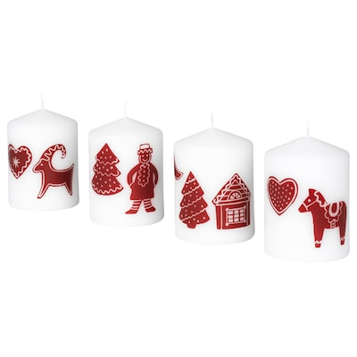 """VINTER 2020 Unscented block candle, gingerbread pattern white/red, 3 ¼ """""""