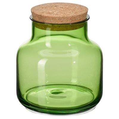 VINTER 2021 Jar with lid, light green/cork, 24 oz