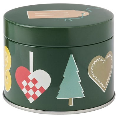 VINTER 2021 Tin with lid, Christmas pattern multicolor