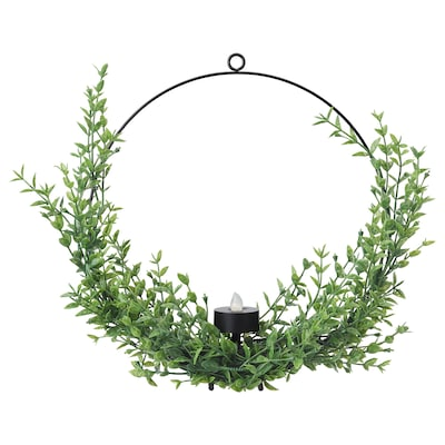 VINTERFEST LED wreath, battery operated/outdoor green