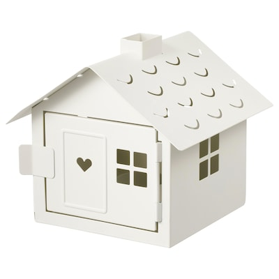 VINTERFEST Tealight holder, house/white, 6 ""