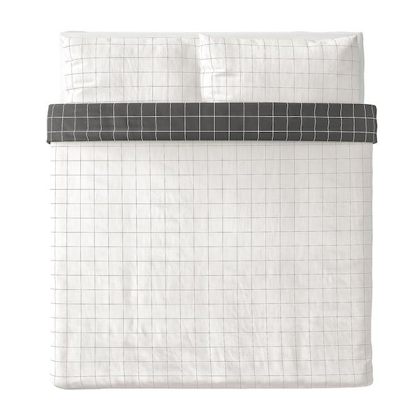 VITKLÖVER Duvet cover and pillowcase(s), white black/check, King