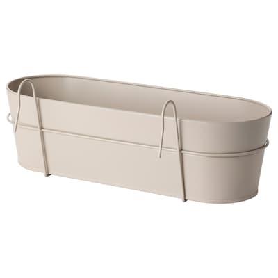 """VITLÖK Flower box with holder, indoor/outdoor beige, 22x7 ¾ """""""
