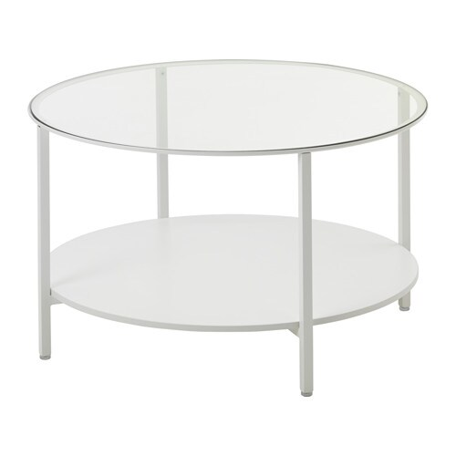 Vittsj coffee table white glass ikea - Table en verre ronde ikea ...