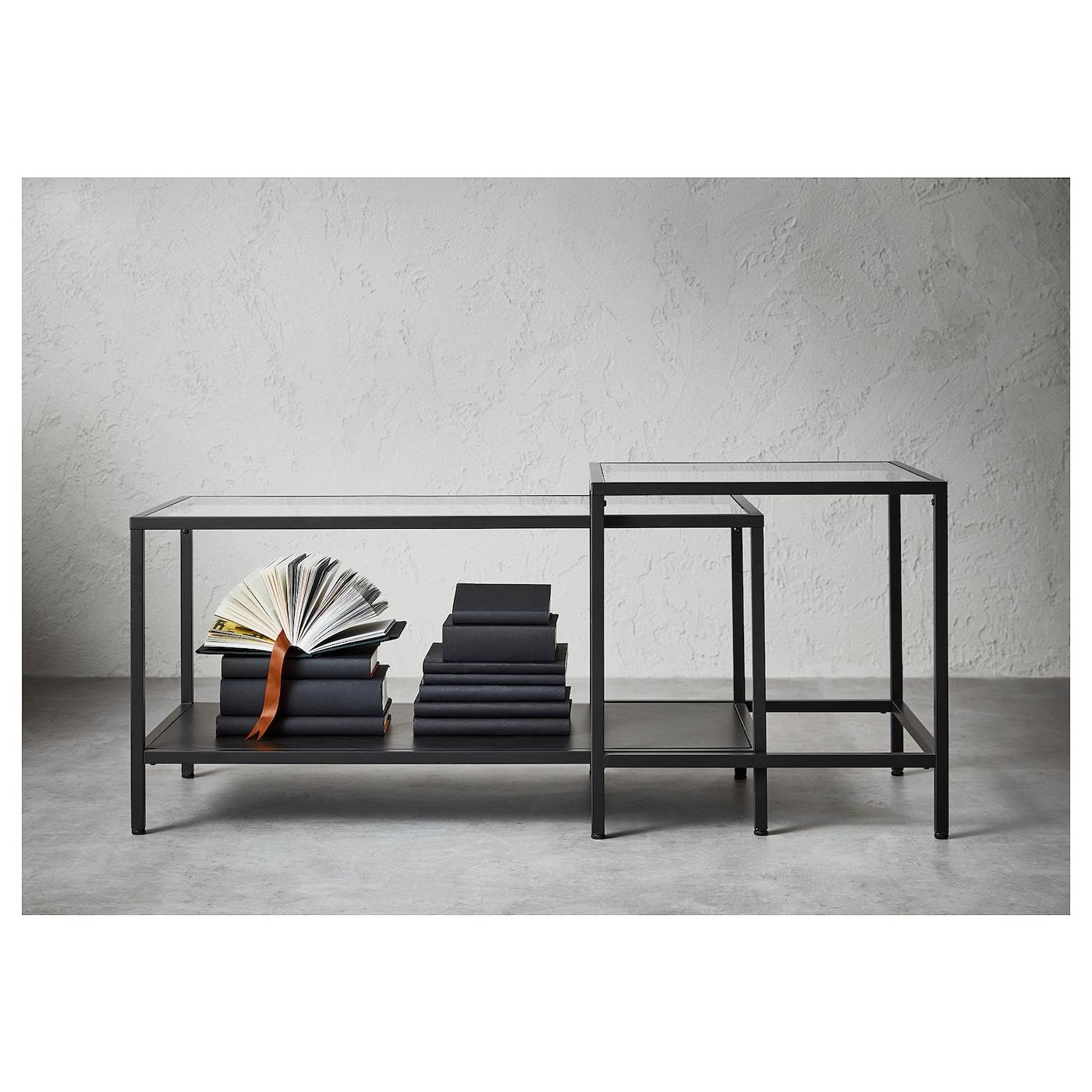 Vittsjö Nesting Tables Set Of 2 Black Brown Glass 353 8x195 8 90x50 Cm Ikea
