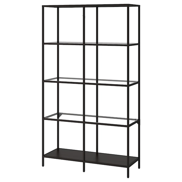 VITTSJÖ Shelf unit, black-brown/glass, 39 3/8x68 7/8 ""