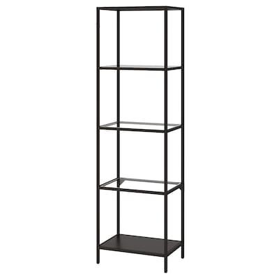 "VITTSJÖ Shelf unit, black-brown/glass, 20 1/8x68 7/8 """