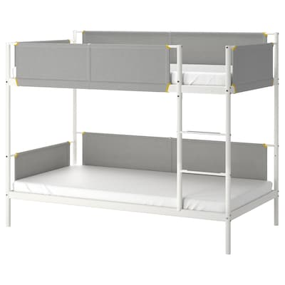 VITVAL Bunk bed frame, white/light gray, Twin