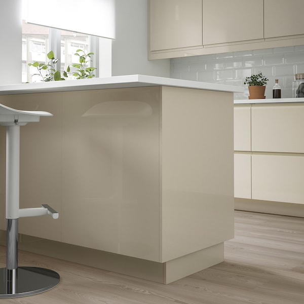 VOXTORP Cover panel, high gloss light beige, 15x90 ""