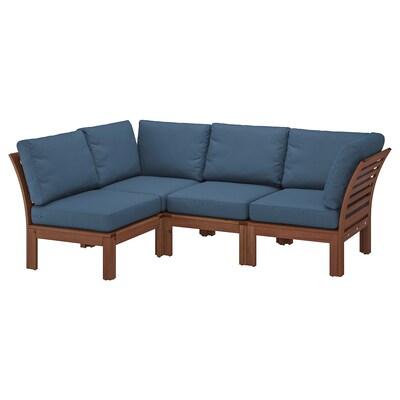 """ÄPPLARÖ Canapé d'angle mod 3pl, ext, teinté brun/Frösön/Duvholmen bleu, 56 1/4/87 3/4x31 1/2x33 1/8 """""""