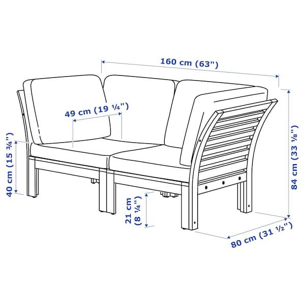 "ÄPPLARÖ Causeuse modulaire, extérieur, teinté brun/Frösön/Duvholmen beige, 63x31 1/2x33 1/8 """