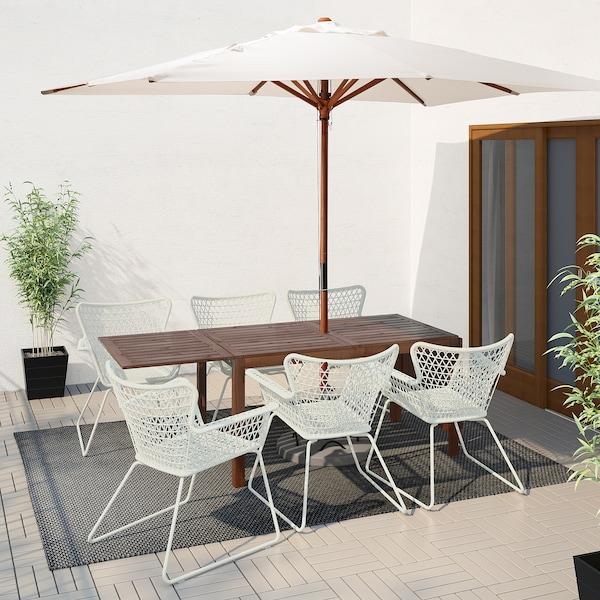 ÄPPLARÖ / HÖGSTEN Table+6 chaises accoud, extérieur, teinté brun/blanc
