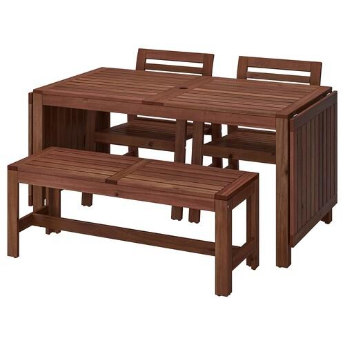 ÄPPLARÖ table+2 chaises av accoud+banc extérieur teinté brun