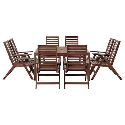 ÄPPLARÖ Table+8 chaises à dossier inclin, extérieur teinté brun